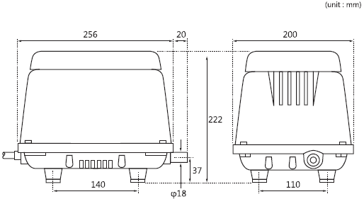 Specification Drawing of the HIBLOW HP-100